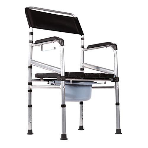 KPL-Kommode Deluxe Toilettensitz für medizinisches Handicap Heimpflege Nachtkommode Töpfchen/Duschstuhl mit gepolsterten Armen/Rückenlehne Falten Platzsparend -