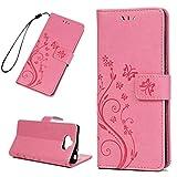 Edauto Sony Xperia XA3 Handyhülle Hülle Schmetterling Lederhülle Wallet Flip Case PU Leder Schutzhülle Bookstyle Handytasche Brieftasche Kartenfach Ständer Magnetisch Handyschale Pink