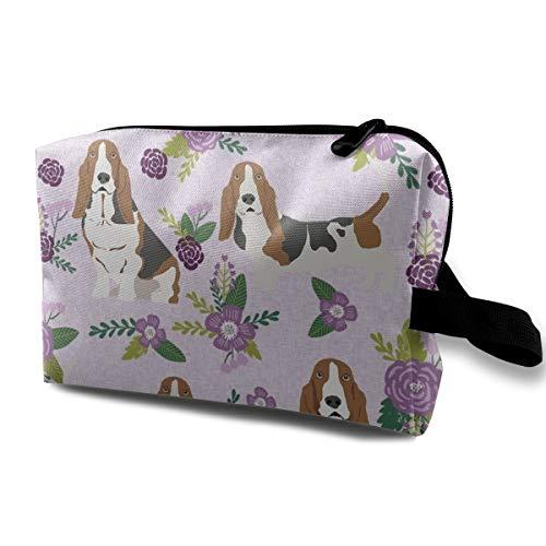 Basset Hound Pet Quilt C Dog Rasse Stoff Blumenmuster Coordinate 1118 Kulturtasche Kosmetiktasche Tragbare Make-up-Tasche Reise Hängeorganizer Tasche für Frauen Mädchen 25,4 x 12,7 x 15,2 cm