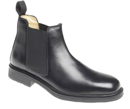 Mens Roamers Leather Chelsea Boots Cushioned lining Black size 10