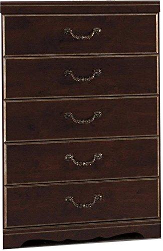 Ashley Furniture Signature Design Chanlyn Cherry Kommode mit 5 Schubladen, traditionell, Rotbraun -