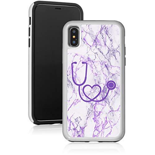 Schutzhülle für Apple iPhone/Stethoskop, stoßfest, Marmor, for Apple iPhone X/iPhone XS, violett
