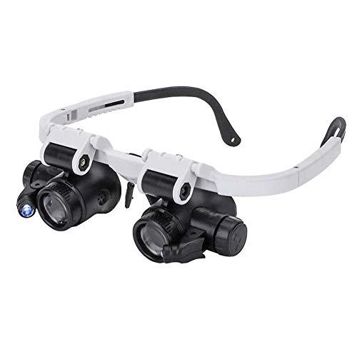 Lupenbrille Kopfband mit LED Licht,Hände Freie Headset Lupe mit 3 Linsen(8X 15X 23X) für Lesen, Brillenträger, Juweliere, Handwerk, Nähen, und Reparatur