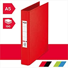 Rexel Choices, 2115560, Ring Binder, A5, 190 Sheet Capacity, Red