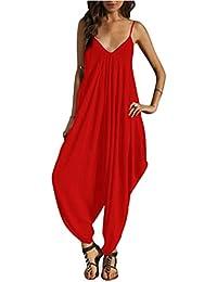Donna Tuta Harem Pantaloni Elegante Baggy Strappy Pantaloni di Gamba Larga  Lunghi Jumpsuit Monopezzo b4991112f72