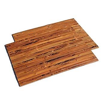 2er Set Bambus Tischsets, Platzsets, Handgefertigt Platzdeckchen, umweltfreundlich und hitzebeständig für Dekoration und Schutz, 40x30cm, dunkle natürliche Farbe