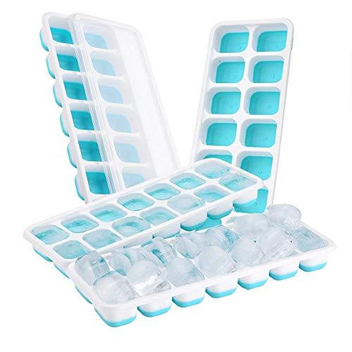würfelform 4er Pack Silikon Eiswuerfel Mit Deckel Ice Tray Ice Cube, Kühl Aufbewahren, LFGB Zertifiziert, Blau ( 4er pack ) ()