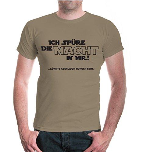 buXsbaum® T-Shirt Ich spüre die Macht in mir! Könnte aber auch Hunger sein. Khaki-Black