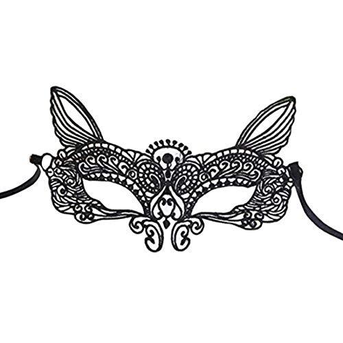 HarmonyHappy Maske Karneval Halloween Maskerade Sexy Lady Black White - Spitzenmaske höhlen Catwoman - Womens Luigi Kleid Kostüm