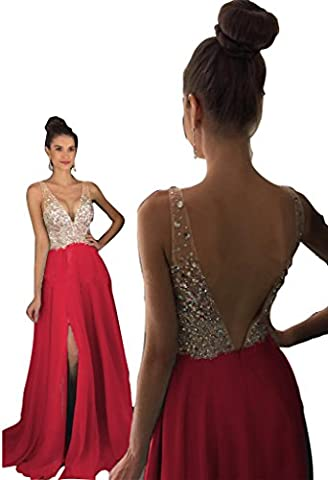 Prom Dresses sparkly crystal beaded v neck open back long chiffon 2017 pageant gowns with leg slit