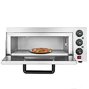 OldFe 2.2KW Forno Pizza Elettrico Professionale 350℃ Forno Per Pizza In Acciaio Inox 56 x 52x 29cm Fornetto Elettrico A Signolo Ripiano