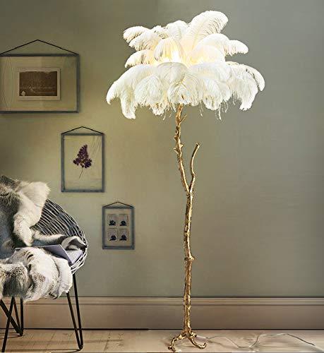 Stehleuchte, LED-Stehleuchte aus Federn, Stehlampe für Wohnzimmer Schlafzimmer Creative Pole mit hängenden Federschatten - hohes Downlight für Schlafzimmer, Familienzimmer, Büros - Antique Brass -