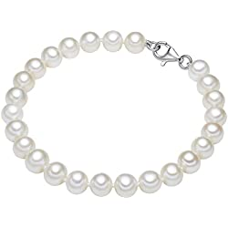 Valero Pearls - Pulsera de perlas embellecida con Perlas de agua dulce - Hilo de seda - 925 Plata esterlina - Pearl Jewellery - En diferentes longitudes, Pulseras, Pulsera de Hilo de seda - 60201420