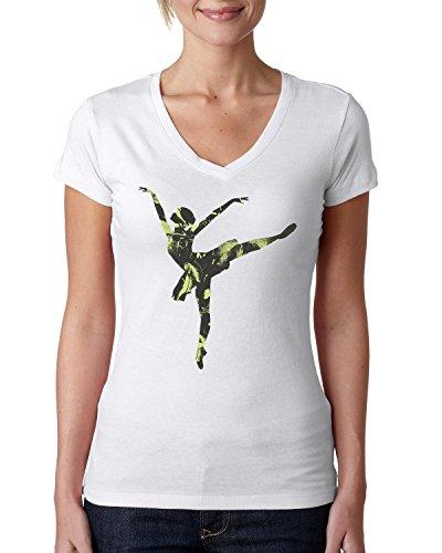 Ballet dance ballerina logo beautiful dammen V-neck baumwolle t-shirt Weiß