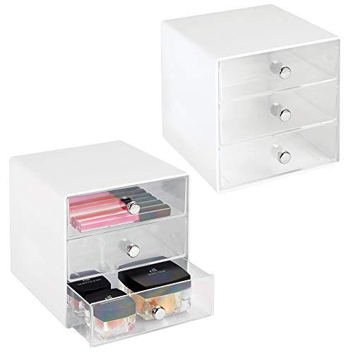 mDesign 2er-Set Schubladenbox aus robustem Kunststoff - praktischer Kosmetik Organizer mit drei Schubladen - stilvolles Schubladensystem mit Chromgriffen - weiß/durchsichtig