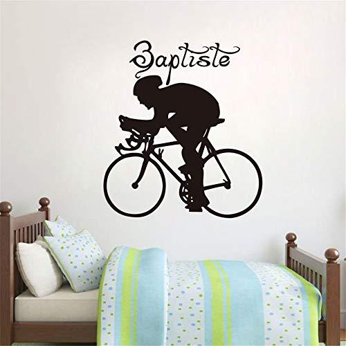 JXMQ Sport Fahrrad Wandaufkleber Home Art Deco abnehmbare Wandhalterung Vinyl Applikation 59x66cm -