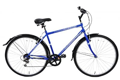 "Cheapest Professional Metropolitan Mens Hybrid City Bike 22"" Frame With Mudguards 6 Speed Blue"