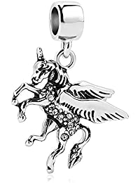 Uniqueen Fly Running Horse Unicorn charms Beads Fit encanto collar o pulsera