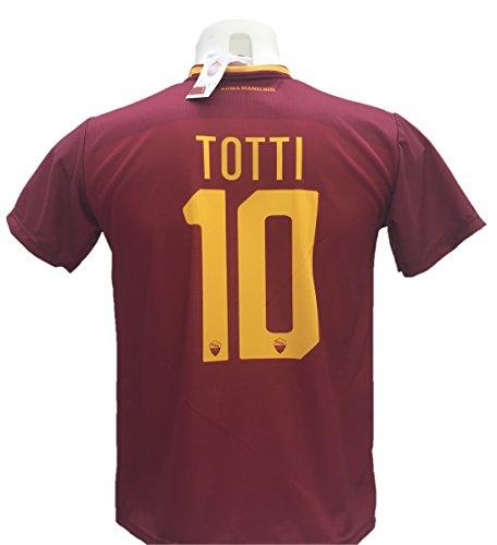 Maglia calcio totti 10 roma replica autorizzata 2017-2018 bambino (taglie 2 4 6 8 10 12) adulto (s m l xl) (l)