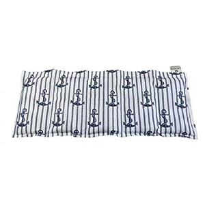 Körnerkissen Kühlkissen Hirsekissen Wärmekissen Hirse Anker beige/blau 50x20 100% Baumwolle 200g/qm