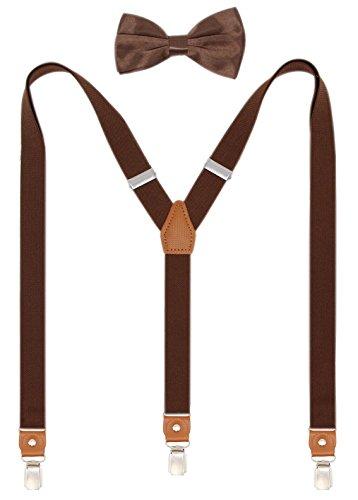 Tall Mens Tie (Timiot Hosenträger und vorgebundene Fliege für Herren, Y-Form, starke Clips, verstellbare Hosenträger - Braun - Einheitsgröße)