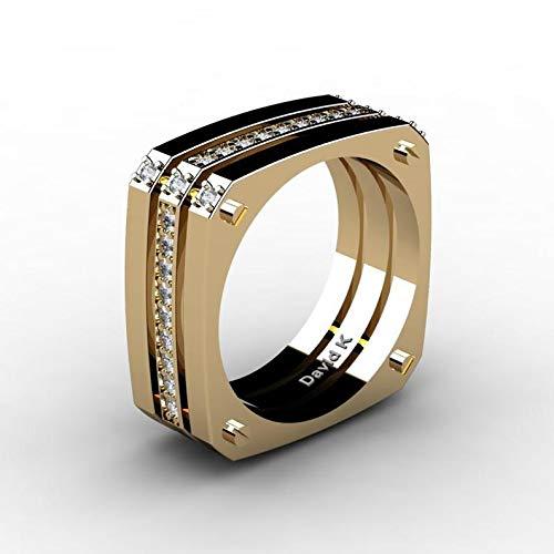 BQZB Ring Herren Punk Square Large Gold Ring DREI Schichten Meteoriten Ring