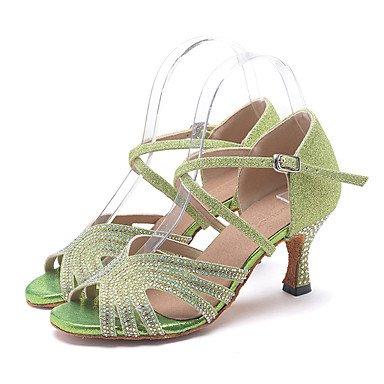 Scarpe da ballo-Personalizzabile-Da donna-Balli latino-americani / Jazz / Moderno / Scarpe da swing-Tacco a rocchetto-Brillantini-Verde / light green