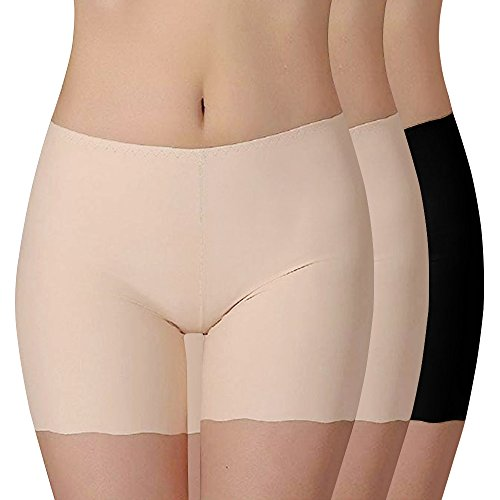 Vertvie Damen 3er Pack Panties Seamless Bambusfaser Unterwäsche Sicherheitshosen Leggings Hipster Retroshorts Boxershorts Unsichtbar Slip(Hautfarbe + Hautfarbe + Schwarz, L)