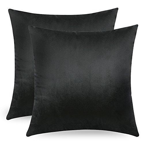 Miulee velluto morbido copricuscino decorativo di federe per cuscini di lusso per salotto divano camera da letto con cerniera invisibile, poliestere e misto poliestere, nero , 18