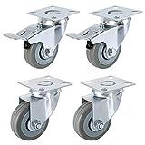FIXKIT 4 Stück Transportrollen 50MM Lenkrollen mit Bremse aus Gummi