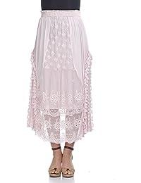 Laura Moretti - Falda de seda larga con detalles bordados