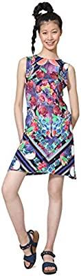 Desigual Dress leeveless Nika Woman Blue Vestido, Azul (arino 5001),  para ujer