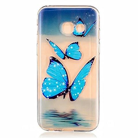 MUTOUREN für Samsung Galaxy A3 (2017) 4.7 Zoll Transparent TPU Silikon Schutz Handy Hülle Case Cover [Kratzfeste, Scratch-Resistant] Hülle Schutzhülle Crystal Kirstall Durchsichtig Fall-Abdeckung Etui TPU Bumper Schale - Blauer Schmetterling