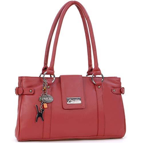 Catwalk Collection Handbags Damen Schultertasche, rot, M
