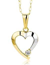 Miore Damen-Halskette mit Anhänger / Filigrane Kette aus 9 kt. Gelbgold mit zweifarbigem Herzanhänger und Zirkonia Stein / Halsschmuck 45 cm lang, Gold