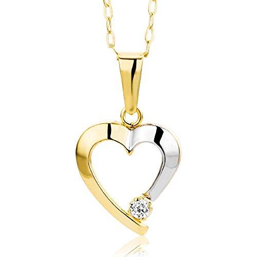 Miore Damen-Halskette mit Anhänger - Filigrane Kette aus 9 kt. Gelbgold mit zweifarbigem Herzanhänger und Zirkonia Stein - Halsschmuck 45 cm lang, Gold