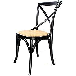 Decoración Vintage Sasha - Silla de madera cruz estilo Thonet y asiento de ratán, 44 x 44 x 89 cm, color negro