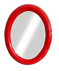 Baal Lightweight Simple Oval Shape Wall Mirror for Living Room Kitchen Bathroom Red 30 Gram Pack of 1