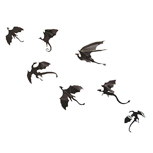 Drawihi Ein Satz von einem Verkauf (ein Satz von sieben verschiedenen Dinosaurier), Halloween Dekoration PVC Wandaufkleber 3d dreidimensionalen Drachen dekorative (Dekoration Halloween Verkauf)