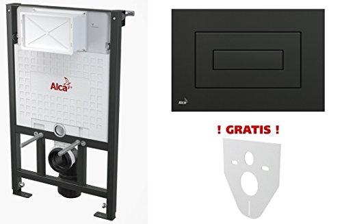 WC Vorwandelement für Trockenbau 100 cm inklusive Betätigungsplatte Schwarz Typ Cube Unterputzspülkasten Spülkasten Wand WC hängend Schallschutz