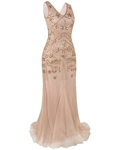kayamiya Damen 1920 Prom Kleider Pailletten Lange Meerjungfrau Formelle Abendkleid S Roségold