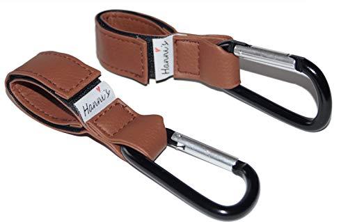 2er Set Hanni\'s Kinderwagen Haken, Befestigungshaken für Wickeltaschen Taschen Einkaufstaschen und mehr, Haken für Kinderwagen Kunstleder (Braun)