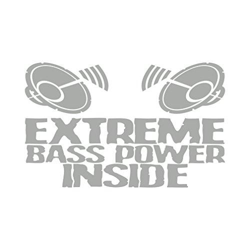 Extreme Bass Power Inside Aufkleber Musik Subwoofer (Silber) (Auto-subwoofer-aufkleber)