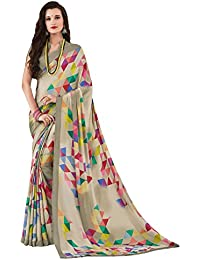 Salwar Studio Women's Multicolor Crape Silk Geometric Printed Saree With Blouse Piece-ADAA-6411