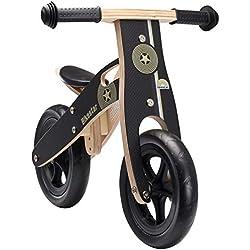 Bikestar Vélo Draisienne Enfants en Bois pour Garcons et Filles DE 2-3 Ans ★ Vélo sans pédales évolutive 10 Pouces ★ Noir