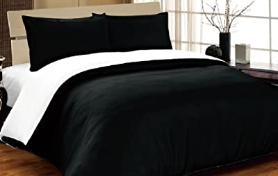 Complete Double, Reversible Black/ White, Duvet Cover and Fitted Sheet Bed Set by VICEROY BEDDING - inexpensive UK light store.