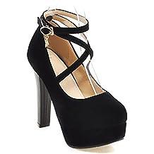 Zapatos De Mujer Spring Ladies Button Tacones Altos Plataformas De Tacón Grueso Boca Baja Zapatos De Verano