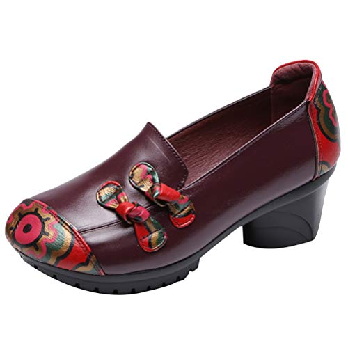 Mallimoda Damen Mary Jane Schuhe Weinlese Kontrastfarbe Leder Slipper Ballerinas Blume Loafers Schuhe mit Absatz Lila EU 40=Asian 41 - Mary Jane Purple Schuhe