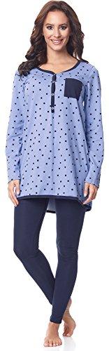 Be Mammy Damen Langarm Pyjama mit Stillfunktion BE20-178, Blau-Punkten-Marine, M