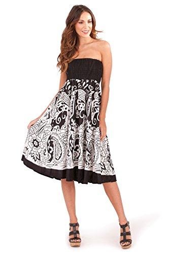Leuchtende Damen, 100% Baumwolle, 2-in - 1/Maxi-Kleid lang, Gr., Schwarz/Blau, Schwarz/Lila Black - White Paisley